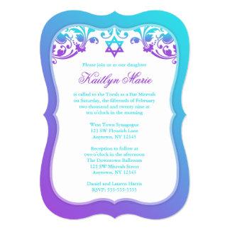 Purple and Teal Blue Swirls Bat Mitzvah Card
