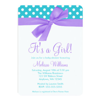 Purple and Teal Bow Polka Dot Baby Shower 5x7 Paper Invitation Card