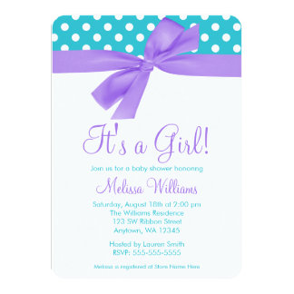 "Purple and Teal Bow Polka Dot Baby Shower 4.5"" X 6.25"" Invitation Card"
