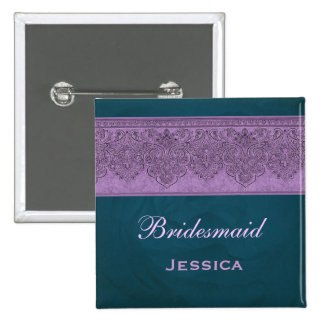 Purple and Teal Bridesmaid Pinback Button
