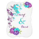 Purple and Teal Butterflies and Whimsical Flowers Personalized Announcements