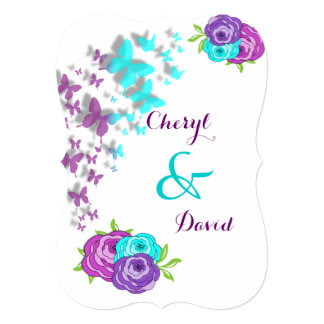 """Purple and Teal Butterflies and Whimsical Flowers 5"""" X 7"""" Invitation Card"""