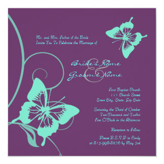 Purple and Teal Butterfly Wedding Invitation