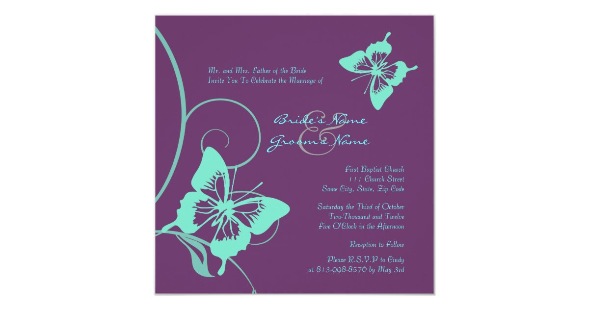 Purple And Teal Butterfly Wedding Invitation Zazzle Com