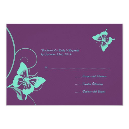 Purple and Teal Butterfly Wedding RSVP Card