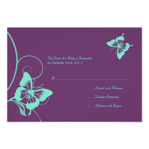 Purple and Teal Butterfly Wedding RSVP Custom Invite