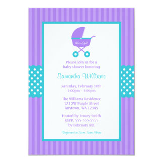 Purple and Teal Carriage Striped Dots Baby Shower Card
