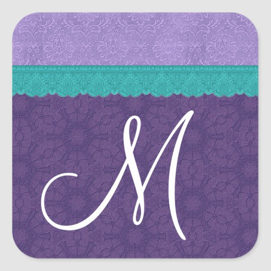 Purple and Teal Damask and Lace Monogram V2A Square Sticker