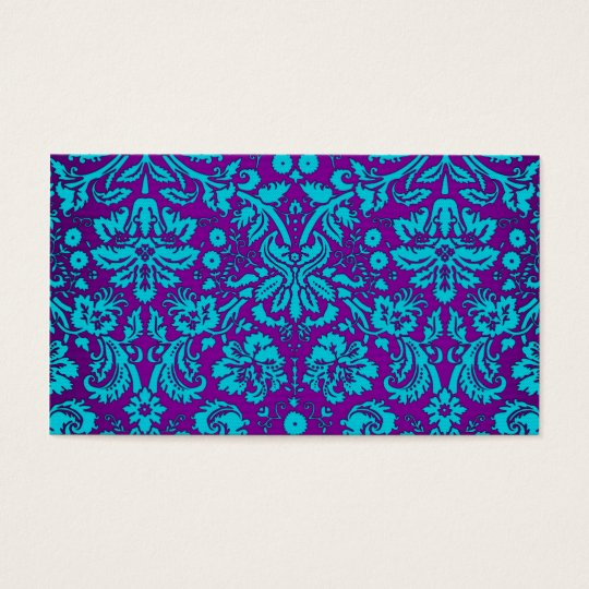 Purple and Teal Damask Pattern Business Card