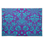 Purple and Teal Damask Pattern Cloth Placemat
