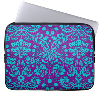 Purple and Teal Damask Pattern Computer Sleeve