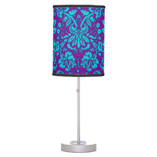 Purple and Teal Damask Pattern Desk Lamp