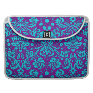 Purple and Teal Damask Pattern MacBook Pro Sleeve