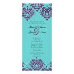 Purple and Teal Damask Wedding Invitation