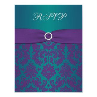 Purple and Teal Damask Wedding RSVP Card