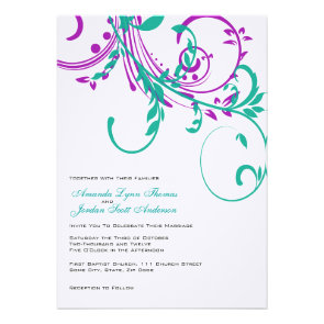 Purple and Teal Double Floral Wedding Invitation