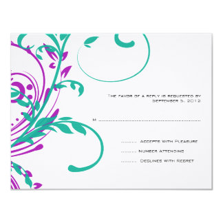 Purple and Teal Double Floral Wedding RSVP Card