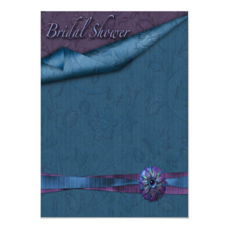 Purple And Teal Floral Bridal Shower Invitations