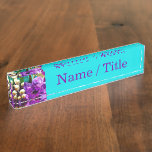 """""""Purple and Teal Floral"""" Name Plate"""