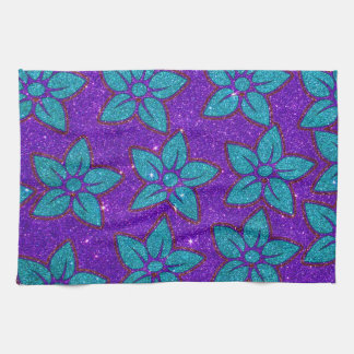 Purple and Teal Glitter Flower Pattern Hand Towel