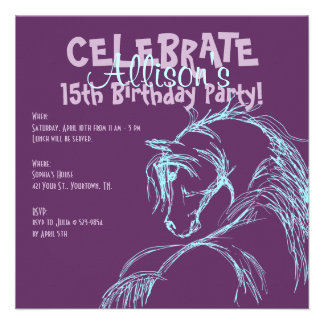 Purple and Teal Horse Head Sketch Birthday Invite
