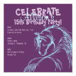 "Purple and Teal Horse Head Sketch Birthday Invite 5.25"" Square Invitation Card"