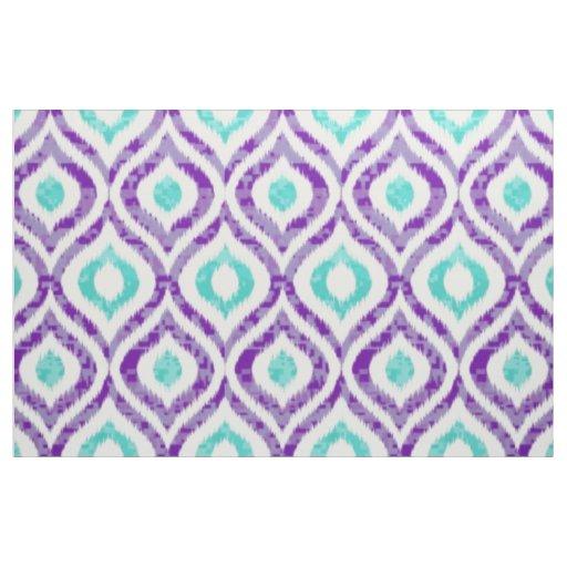 Purple and teal ikat pattern fabric | Zazzle