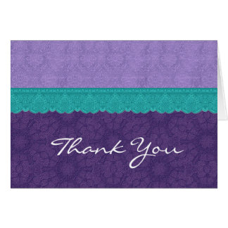Purple and Teal Lace  Wedding Thank You V2 Card