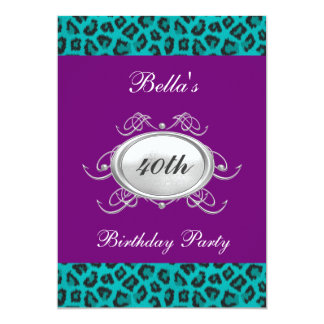 Purple and Teal Leopard Birthday Party Invitation