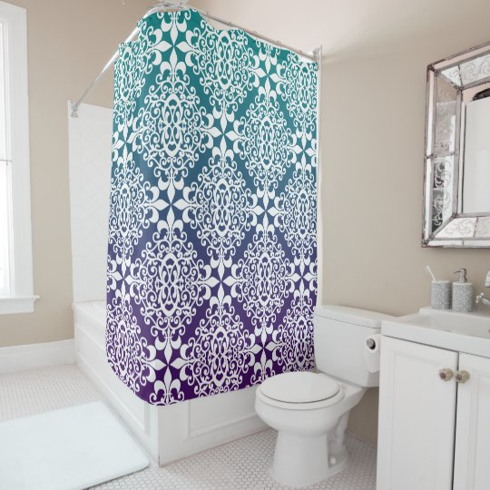 Purple and teal ombre ornate damask shower curtain for Purple ombre shower curtain