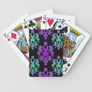 Purple and Teal over Black Damask Style Pattern Bicycle Playing Cards