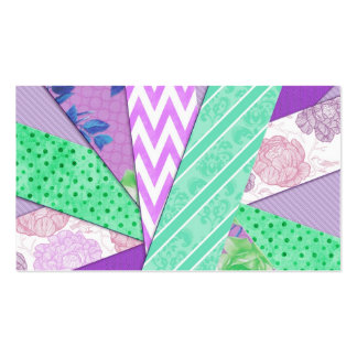 Purple and Teal Pattern Strips Double-Sided Standard Business Cards (Pack Of 100)