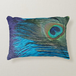 Purple and Teal Peacock Decorative Pillow