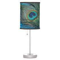 Purple and Teal Peacock Desk Lamp