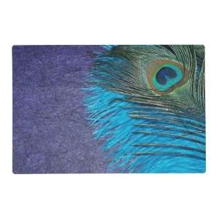 Purple And Teal Peacock Feather Placemat at Zazzle