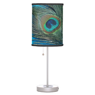 Purple and Teal Peacock Lamps