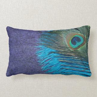 Purple and Teal Peacock Lumbar Pillow