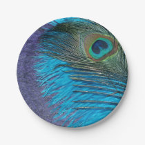 Purple and Teal Peacock Paper Plate