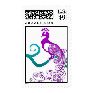 Purple and Teal Peacock Stamp