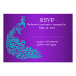 Purple and Teal Peacock RSVP Invitations