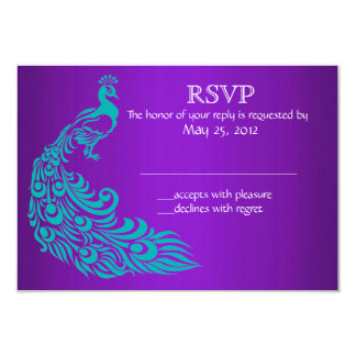 "Purple and Teal Peacock RSVP Invitations 3.5"" X 5"" Invitation Card"
