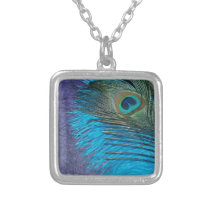 Purple and Teal Peacock Silver Plated Necklace