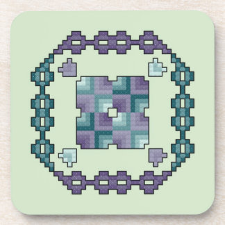 Purple and Teal Quilt Square Cross Stitch Coasters