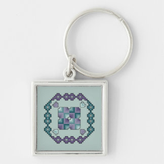Purple and Teal Quilt Square Cross Stitch Keychain