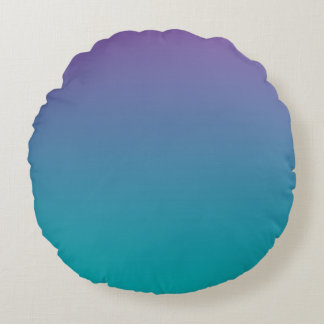 Purple And Teal Round Pillow