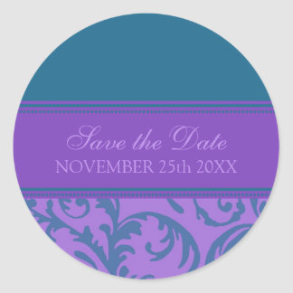 Purple and Teal Save the Date Envelope Seal