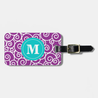 Purple and Teal Swirl Monoagram Luggage Tag