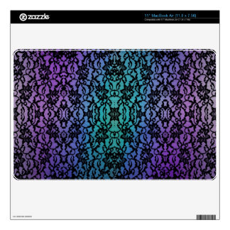 Purple and Teal Tie-Dye Black Lace Laptop Sleeve Skins For The MacBook Air