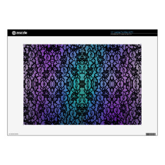 """Purple and Teal Tie-Dye With Black Lace Decals For 15"""" Laptops"""