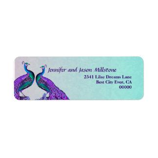 Purple and Teal Vintage Peacocks Wedding Label